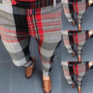 Men's Plaid Slim Fit Pencil Pants Formal Casual Wedding Business Dress Trousers