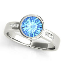 1.09 Carats Petite Bezel Blue Topaz Gem Stone & Diamond Engagement Ring