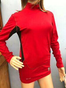 Nike Pro Combat Dri Fit Red Long Sleeve High Neck Activewear Top Size M