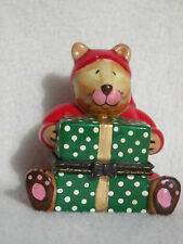 Vintage Teddy Bear in PJ's Holding a Gift Box & Sweet Dreams Pillow Trinket Box