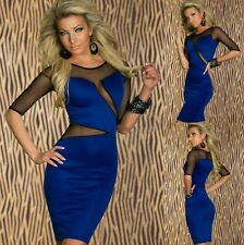 Sz 8 10 Blue Black Mesh 3/4 Sleeve Midi Sexy Formal Cocktail Party Slim FitDress