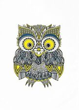 The Colourful Zentangle Owl Large Cotton Tea Towel by Half a Donkey