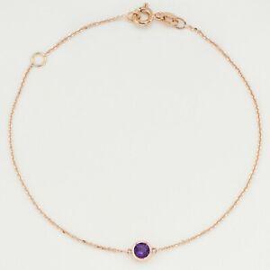 February Birthstone/Natural Gem Amethyst 9K Solid Gold Bracelet(Made-by-Order)