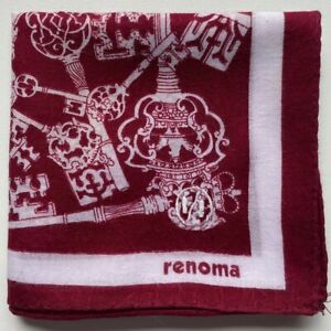 """USED HANDKERCHIEF VINTAGE COTTON 19"""" ART RED KEYCHAIN PATTERNED POCKET SQUARE"""