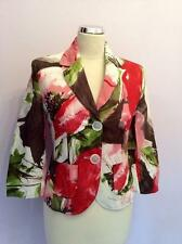 GERRY WEBER BROWN,IVORY,GREEN,RED & PINK FLORAL COTTON PRINT JACKET SIZE 10