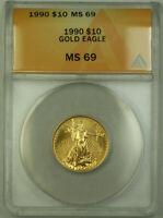 1990 $10 American Gold Eagle Coin AGE 1/4th Oz ANACS MS-69