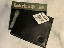 Timberland Mens Black Pebbled Leather Wallet NWT In Box