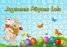 puzzle 252 pièces pâques lapin oeufs 38 x 26 cm personnalisable prénom réf 78