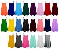 Women Ladies Plain Summer CAMI SWING MINI DRESS Long Top vest Plus lot Size 8-26