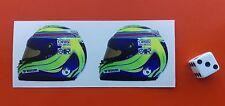 x2  Felipe Massa Helmet F1 Stickers  F1 Williams 50mm x 40mm