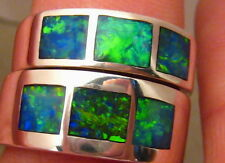 Opal Inlay Wedding Band Ring 925 Silver Matching Set His Hers Bride Groom Solid