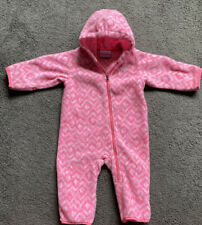 Columbia Infant Girl Hooded Pink Fleece One Piece 6-12 Months Ships Free