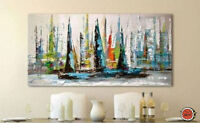ZWPT69 abstract art 100% hand-painted sail boat oil painting on Canvas