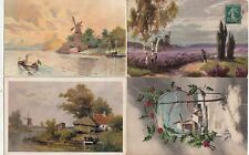 Lot 4 cartes postales anciennes FANTAISIES moulin muhle mill mulino 3