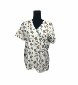 Beverly Hills Scrub top:Butterflies & Teddy Bears Side Medium M Happy