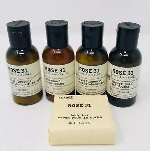 Le Labo Rose 31 Travel Size 5 pc Shampoo Conditioner Lotion Soap Shower Gel 1.4
