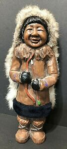 "VTG Inuit 11"" eskimo Doll resin mold with Fur Leather posing a bow & arrow"