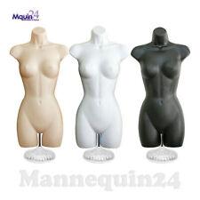 3 Mannequin Dress Form Torsos Set Flesh White Black Forms 3 Stands + 3 Hangers