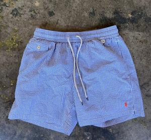 Mens Medium Polo Ralph Lauren Striped Swimming Trunks White Light Blue