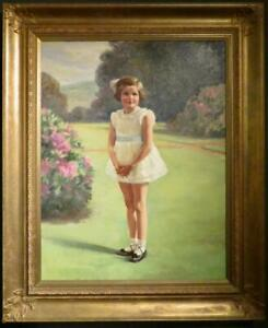 LEVINE - LARGE fine OIL PAINTING Portrait Of A Young Girl In A Landscape SIGNED