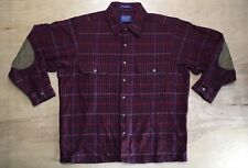 PENDLETON Shirt Shadow Plaid Wool Red  Leather Elbow Pads USA Size Med Vtg EUC