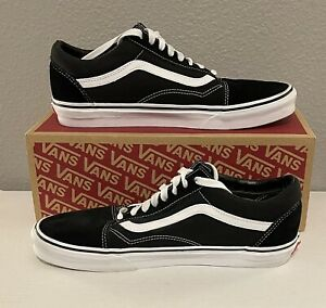 VANS Old Skool Black/White Low Suede Canvas Classic Skate Shoes Men's Size 10.5