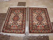 Rectangle Area Rug Ivory Flower Hand Knotted Rug Wool Silk Carpet Pair (3 x 2)'