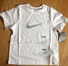 Nike Boys T- Shirt 6-7 Years White Swoosh Cotton Top 404481-100 (C)