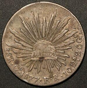 1877 Go FR Mexico 8 Reales Silver Coin - KM# 377.8