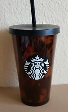Starbucks Tumbler Tortoise Shell  Black Brown Cold Cup Straw, RARE, 16oz  NEW