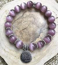 Ladies Cats Eye Purple Opal Healing Reiki Gemstone Power Bead Bracelet for Women