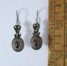 Bali Style Sterling 925 Silver Garnet Dangle Earrings #177