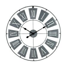 Grey Wall Clock Roman Numerals Quartz Metal Standard Analogue Time Piece Mounted
