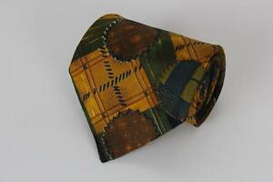 ERMENEGILDO ZEGNA Silk Tie. Orange, Green and Blue Geometric. Made in Italy.
