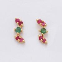 14Karat Gold natürliche Rubin & Smaragd mehrfarbige Ohrringe Hochzeit Ohrstecker