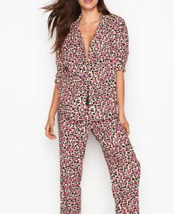 NWT Victoria's Secret The Flannel Pajamas Set White Cheetah Heart Size S/R