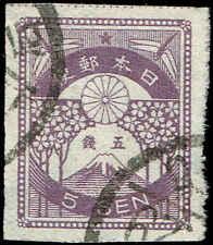 Scott # 184 - 1923 - ' Mt. Fuji & Cherry Blossoms '; Granite Paper