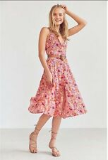 Urban Outfitters Kimchi Blue Graziano Pink Floral Button Down Midi Dress Sz XS