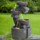 Cascading Led Water Feature Garden Fountain Electric Pump Outdoor Statues Decor