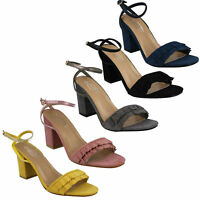 SPOT ON F1R0825 LADIES HIGH BLOCK HEEL ANKLE STRAP OPEN TOE PARTY SANDALS SHOES