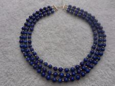 VINTAGE 3 STRAND LAPIS LAZULI BEAD NECKLACE STERLING SILVER 117 GRAMS