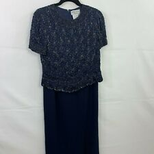 Adrianna Papell Size 8 Mother Of Bride Navy 2 Piece Beaded Top And Long Skirt