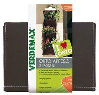 Verdemax orto appeso 3 tasche interno in polietilene per balconi e giardini 2288