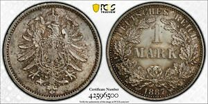 PCGS MS-65 GERMANY SILVER 1 MARK 1887 -A (LAST DATE) RARE THIS NICE!