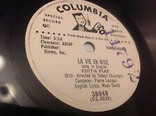 EDITH PIAF: LA VIE EN ROSE: SUNG IN ENGLISH 78 rpm - PROMO (EX) WHITE LABEL