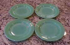 """4 Fire King Jadeite G297 6.75"""" Pie Salad Plates ~ Jadite Green Restaurant Ware"""