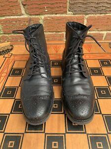 Cole Haan Men 9.5 M Zerogrand Wing Tip Boots Chukka Black Water Resistant C23299