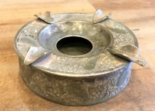 Vintage Old Genuine Brass Hand Carved Floral Islamic Bar Ash Tray