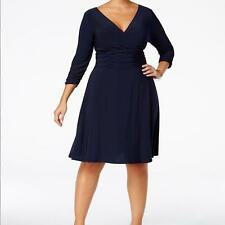 NY Collection Women's Plus Ruched A‑Line Dress NWT Size 2X MSRP $70 WD178