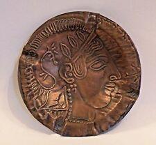 8MA51 ANCIENT GREEK ATTIC POTTERY REPRODUCTION COPPER ASHTRAY head of Athena